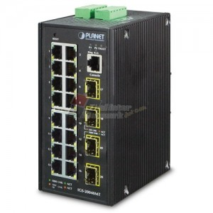 Planet IGS-20040MT L2+ Industrial 16-Port 10/100/1000T + 4 100/1000X SFP Managed Switch (-40~75 degrees C)