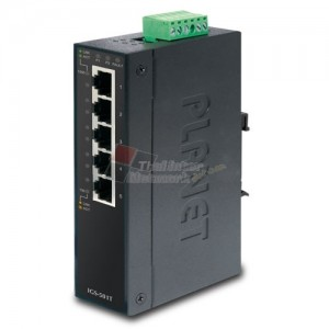 Planet IGS-501T 5-Port 10/100/1000T Industrial Gigabit Ethernet Switch (-40~75 degrees C operating temperature)