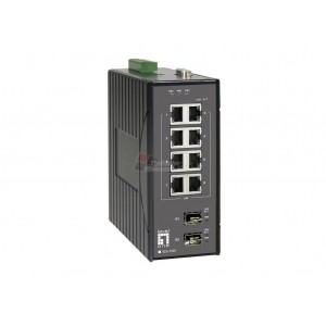 Level One IES-1081 10-Port Industrial L2 Managed Fast Ethernet Switch, DIN-Rail, 2 x SFP Gigabit